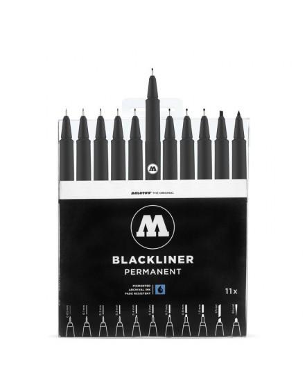 pack rotuladores de punta fina molotow blackliner 11