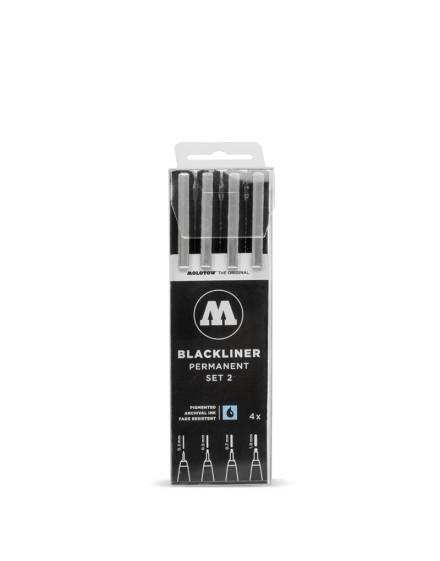 pack rotuladores punta fina molotow blackliner x4