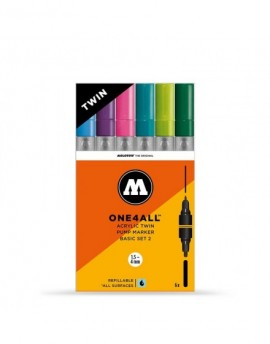 pack 6 rotuladores acrilicos twin marker molotow one4all