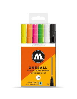 Pack 6 rotuladores acrílicos One4all 2mm Set Fluorescente""