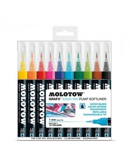 Pack 10 rotuladores acuarelables Molotow Grafx 1mm