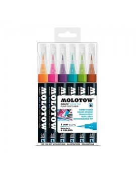 Pack 6 rotuladores acuarelables Molotow Grafx 1mm Set 2